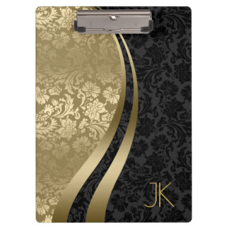 Black And Gold Geometric Floral Damasks Clipboard