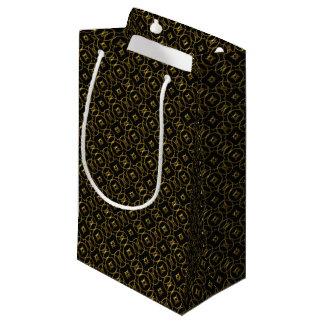 Black and Gold Geometric Pattern Shiny Elegant Small Gift Bag