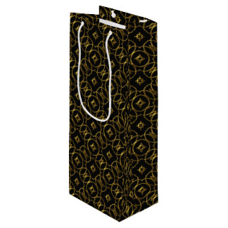 Black and Gold Geometric Pattern Shiny Elegant Wine Gift Bag