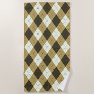 Black And Gold Geometric Stripes Argyle Pattern Beach Towel