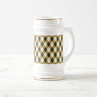 Black And Gold Geometric Stripes Argyle Pattern Beer Stein