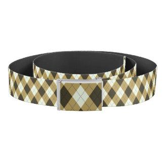 Black And Gold Geometric Stripes Argyle Pattern Belt