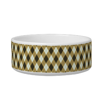Black And Gold Geometric Stripes Argyle Pattern Bowl
