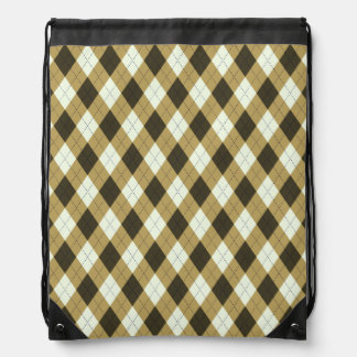 Black And Gold Geometric Stripes Argyle Pattern Drawstring Bag