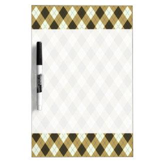 Black And Gold Geometric Stripes Argyle Pattern Dry Erase Board