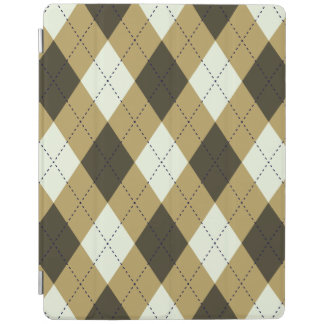 Black And Gold Geometric Stripes Argyle Pattern iPad Cover