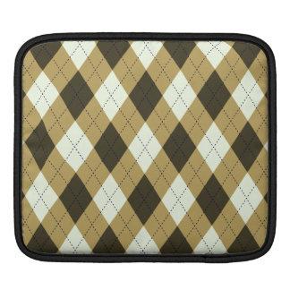 Black And Gold Geometric Stripes Argyle Pattern iPad Sleeve