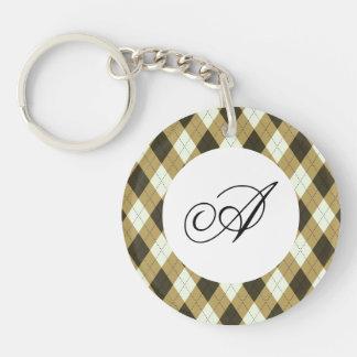 Black And Gold Geometric Stripes Argyle Pattern Keychain