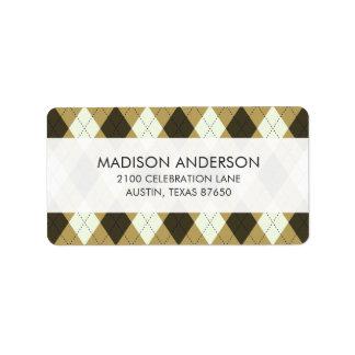 Black And Gold Geometric Stripes Argyle Pattern Label