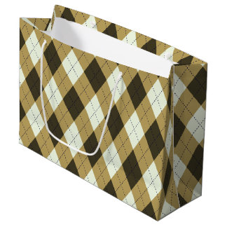 Black And Gold Geometric Stripes Argyle Pattern Large Gift Bag