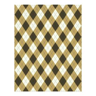Black And Gold Geometric Stripes Argyle Pattern Letterhead