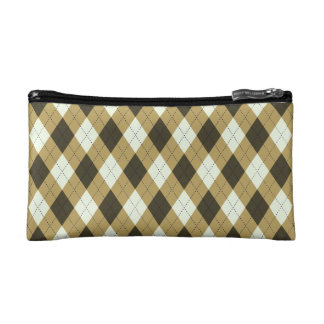 Black And Gold Geometric Stripes Argyle Pattern Makeup Bag