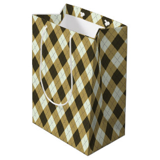 Black And Gold Geometric Stripes Argyle Pattern Medium Gift Bag