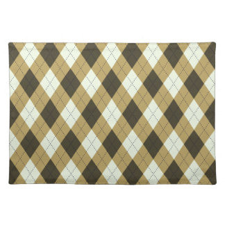 Black And Gold Geometric Stripes Argyle Pattern Placemat