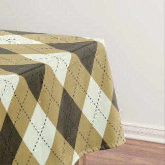 Black And Gold Geometric Stripes Argyle Pattern Tablecloth