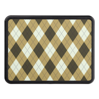 Black And Gold Geometric Stripes Argyle Pattern Trailer Hitch Cover