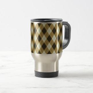 Black And Gold Geometric Stripes Argyle Pattern Travel Mug