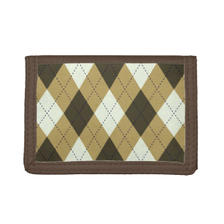 Black And Gold Geometric Stripes Argyle Pattern Trifold Wallet