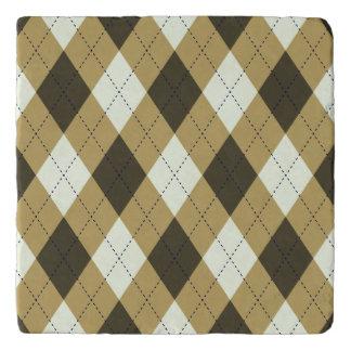 Black And Gold Geometric Stripes Argyle Pattern Trivet
