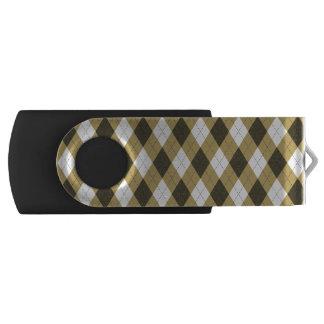 Black And Gold Geometric Stripes Argyle Pattern USB Flash Drive
