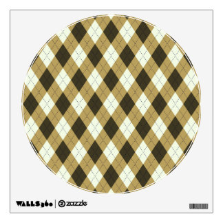 Black And Gold Geometric Stripes Argyle Pattern Wall Sticker