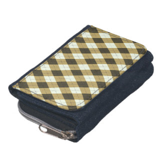 Black And Gold Geometric Stripes Argyle Pattern Wallet