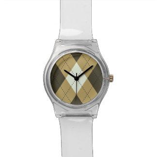 Black And Gold Geometric Stripes Argyle Pattern Watch