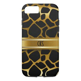 Black and Gold Giraffe Animal Print | Monogram iPhone 7 Case