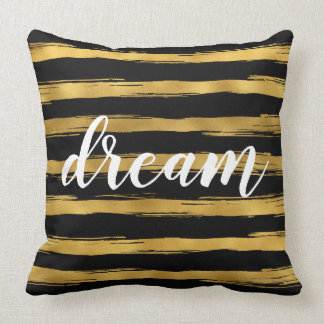 Black and Gold Glam Stripes Dream Throw Pillow