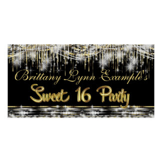 Black and Gold Glam Sweet 16 Party Banner Poster