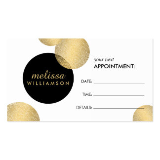Black and Gold Glamour and Beauty Appointment Card Business Card