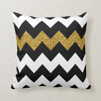 Black and Gold Glitter Chevron on White Throw Pillow
