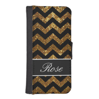 Black and Gold Glitter Chevron wallet case iPhone 5 Wallets