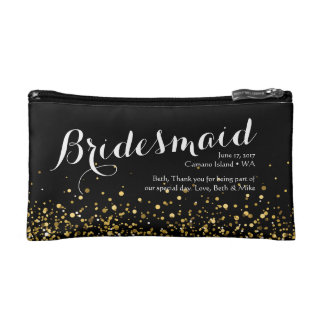 Black and Gold Glitter Cosmetic Bag