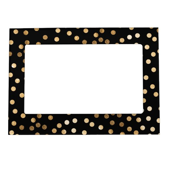 Black and Gold Glitter Dots Frame Magnets