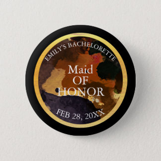 Black and Gold Glitter Maid of Honor Bachelor 2 Inch Round Button