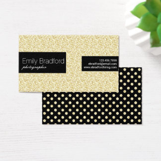 Black and Gold Glitter Polkadot Business Cards