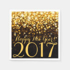 Black and Gold Glitter Sparkles New Years Eve Napkin