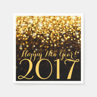 Black and Gold Glitter Sparkles New Years Eve Paper Napkin
