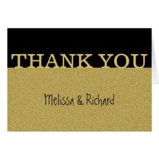 Black And Gold Glitter Wedding Thank You Card