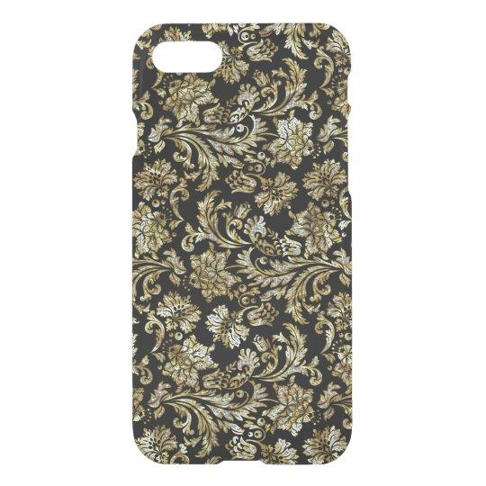 Black And Gold GlitterVintage Floral Damasks iPhone 7 Case