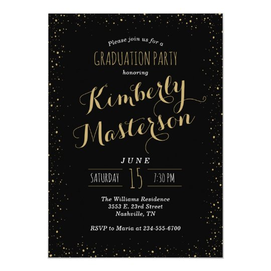 Black and Gold Glitz Graduation Party Invitation