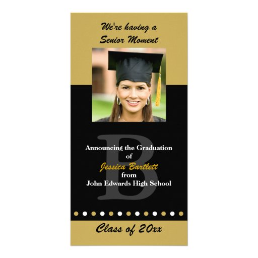 Black and Gold Graduation Announcement Picture Card