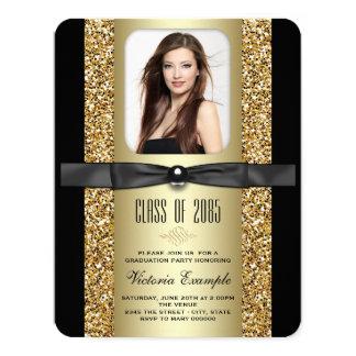 "Black and Gold Graduation Announcements 4.25"" X 5.5"" Invitation Card"