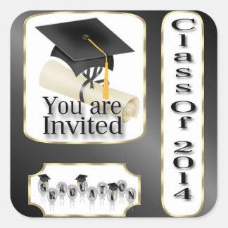 Black and Gold Graduation envelope seal Square Sticker