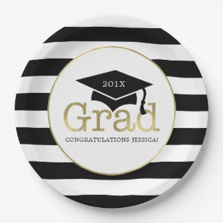 Black and Gold Graduation Party Paper Plate