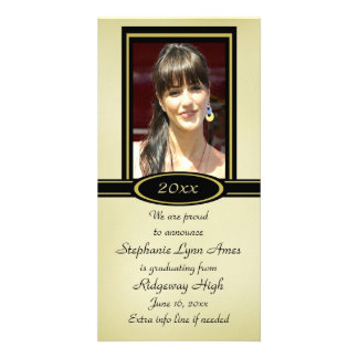 Black and Gold Graduation Photo Card