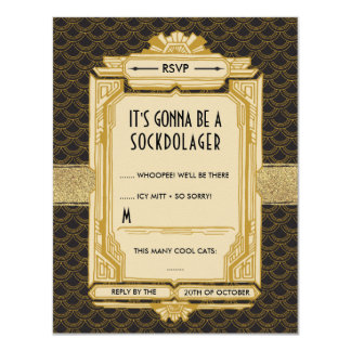 Black and Gold Great Gatsby RSVP Cards