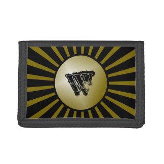 Black and Gold Grunge Monogram Boys Wallet