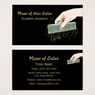 Black and Gold Hair Salon Vintage Comb and Curls Business Card
